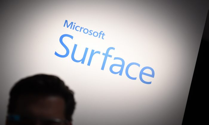 A guest waits for the launch of the new Microsoft Surface Pro 3 tablet computer May 20, 2014 in New York. (STAN HONDA/AFP/Getty Images)
