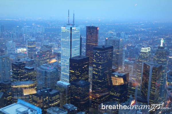View of the Toronto skyscrapers from the CN Tower. (Breathedreamgo)
