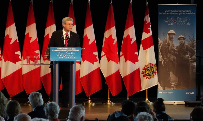 Canadian Prime Minister Stephen Harper speaks of Canada's sacrifice during the First World War during an event Aug. 4, 2014, at the National War Museum in Ottawa marking 100 years since Canada joined the war. (Matthew Little/Epoch Times)