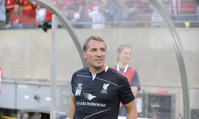 Liverpool Coach Brendan Rodgers before the start of the match against the Olympiacos FC in the International Champions Cup 2014 on July 27, 2014 at Soldier Field in Chicago, Illinois. (Photo by David Banks/Getty Images)