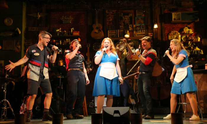 """The cast of """"Pump Boys and Dinettes"""" singing a number from the show. (Joan Marcus)"""