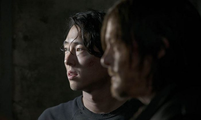 Glenn Rhee (Steven Yeun) and Daryl Dixon (Norman Reedus) in Season 5. (Gene Page/AMC)