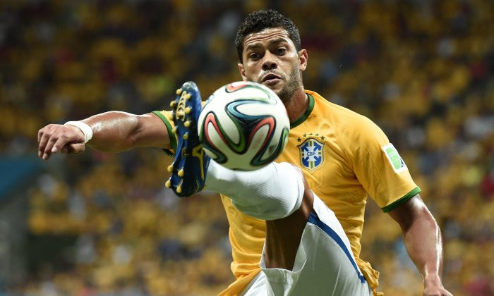 Brazil's forward Hulk controls the ball during the third place play-off football match between Brazil and Netherlands during the 2014 FIFA World Cup at the National Stadium in Brasilia on July 12, 2014. (DAMIEN MEYER/AFP/Getty Images)