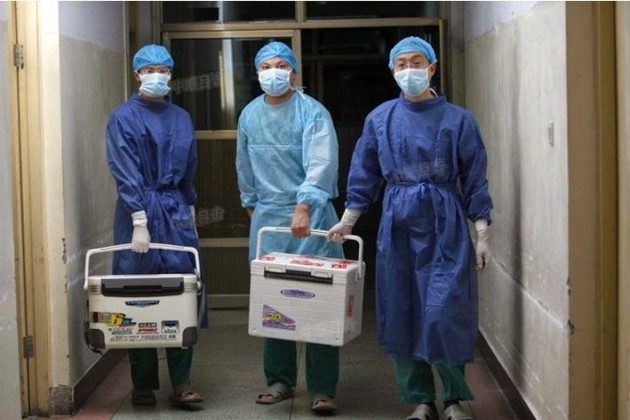 Chinese doctors carry fresh organs for transplant at a hospital in Henan Province on Aug. 16, 2012, in a screenshot from Sohu.com. (Epoch Times)