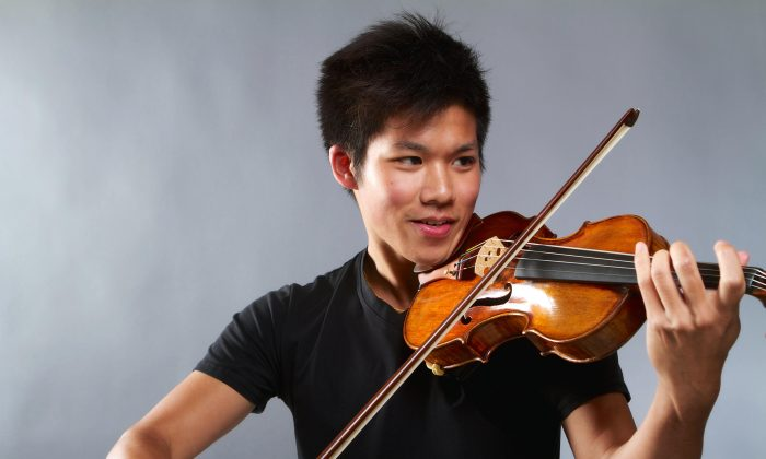 Jonathan Chan of Burnaby, B.C., plays the Dominicus Montagnana violin crafted in 1715 and valued at $900,000. It was once owned by the Italian inventor and radio pioneer Guglielmo Marconi, who was also a violin enthusiast. (Courtesy of Canada Council for the Arts)
