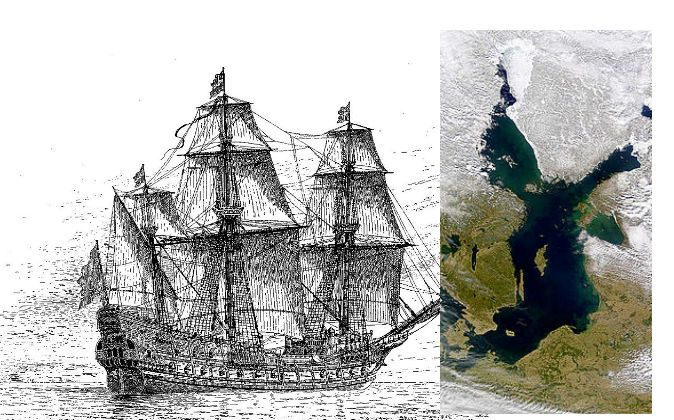 A drawing of the Swedish warship Mars, also known as the Makalös (Peerless), which was constructed between 1563 and 1564. The drawing is by Jacob Hägg. An image of the Baltic Sea where the ship went down. (Wikimedia Commons)