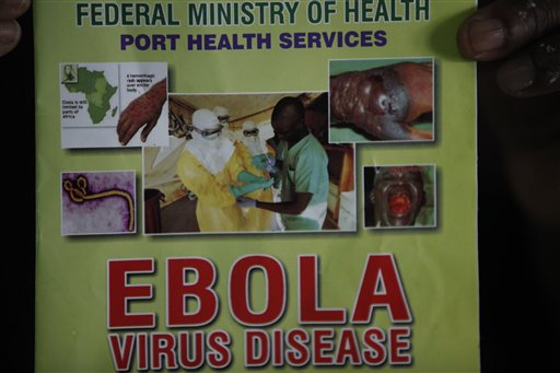 Monday, Aug. 4, 2014. Nigerian authorities on Monday confirmed a second case of Ebola in Africa's most populous country, an alarming setback as officials across the region battle to stop the spread of a disease that has killed more than 700 people. (AP Photo/Sunday Alamba)
