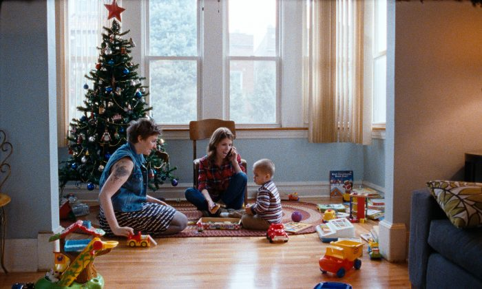 "(L–R) Lena Dunham, Anna Kendrick, and Jude Swanberg in ""Happy Christmas."" (Magnolia Pictures)"