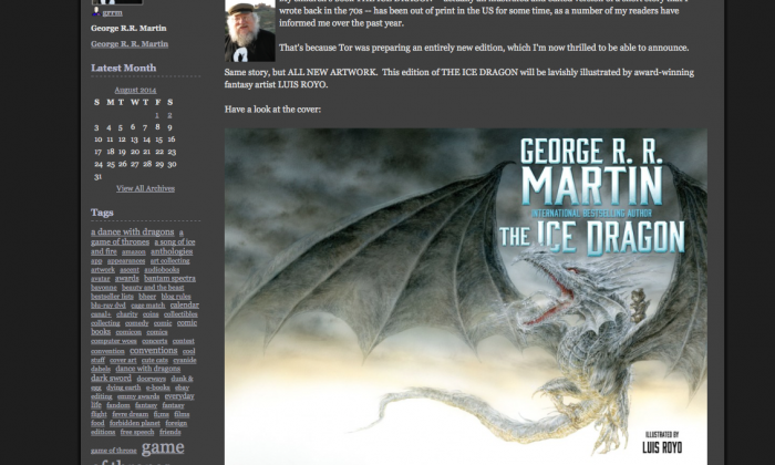 """Screenshot of author George R. R. Martin's blog where he announced that he will be re-releasing the children's novel """"The Ice Dragon."""""""
