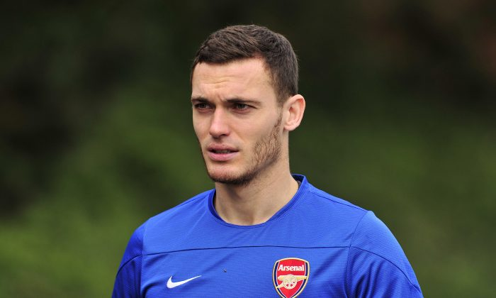 Arsenal's Belgian defender Thomas Vermaelen attends a team training session for the forthcoming UEFA Champions League Group F football match against SSC Napoli at Arsenal's London Colney training ground in north London on September 30, 2013. Arsenal will play against Napoli at the Emirates Stadium on October 1, 2013. (GLYN KIRK/AFP/Getty Images)
