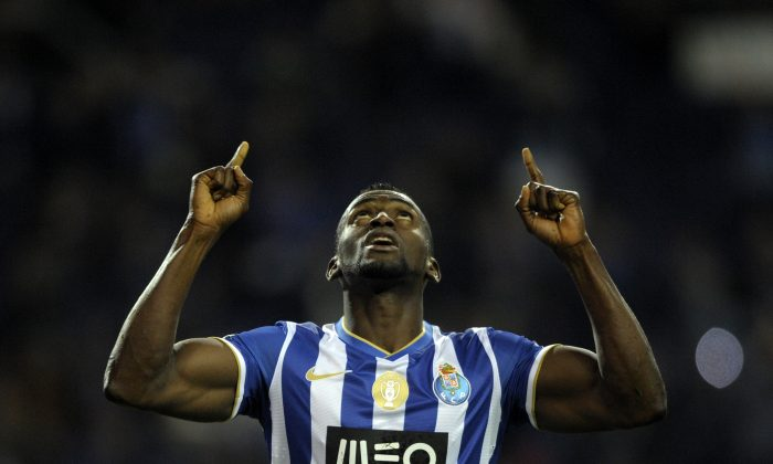 Porto's Colombian forward Jackson Martinez celebrates after scoring a goal during the Portuguese league football match FC Porto vs Rio Ave at at the Dragao stadium in Porto on April 21, 2014. (MIGUEL RIOPA/AFP/Getty Images)
