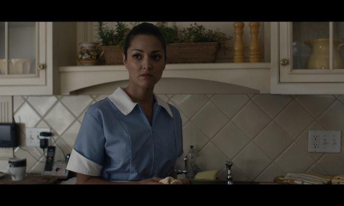 Paula Garcés as the maid who witnesses some corrupt behavior in the Hamptons. (Courtesy of Palladin)