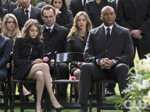 Thea Queen, front left, at her mother's funeral; will she be training in season 3 to fight Oliver? (Jack Roward/The CW)