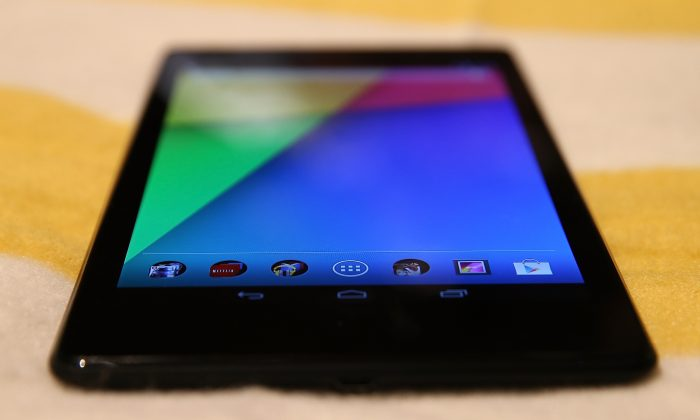The new Google Nexus 7 tablet, made by Asus is displayed during a Google special event at Dogpatch Studios on July 24, 2013 in San Francisco, California. Google announced a new Asus Nexus 7 tablet and the Chromecast SDK. (Photo by Justin Sullivan/Getty Images)