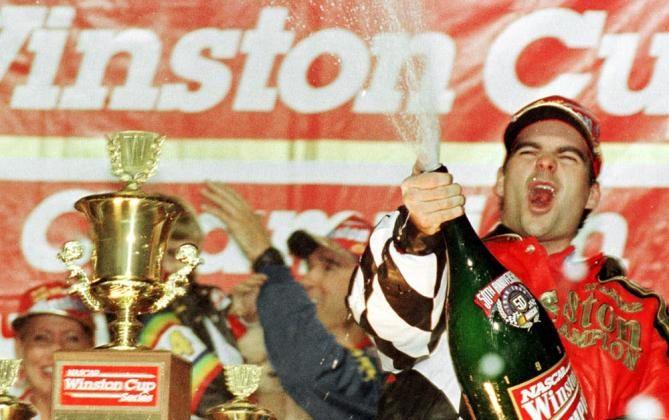 Jeff Gordon celebrates in 1998 championship.