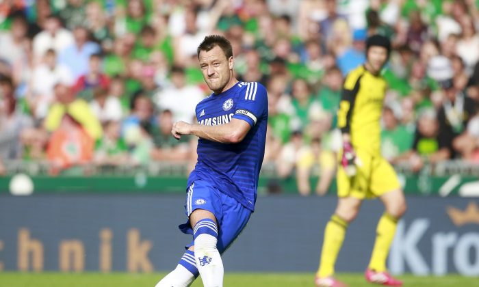 John Terry of Chelsea during the pre season friendly match between SV Werder Bremen and FC Chelsea at Weserstadion on August 3, 2014 in Bremen, Germany. (Photo by Martin Stoever/Bongarts/Getty Images)