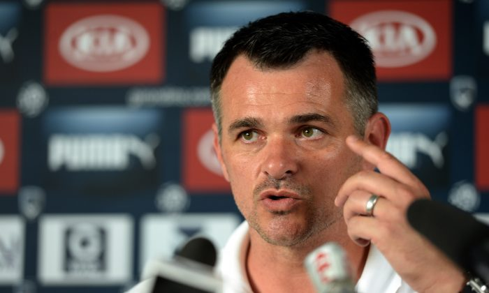 Bordeaux's French coach Willy Sagnol holds a press conference in Le Haillan on August 7, 2014 ahead of the start of the new French L1 season. (JEAN PIERRE MULLER/AFP/Getty Images)