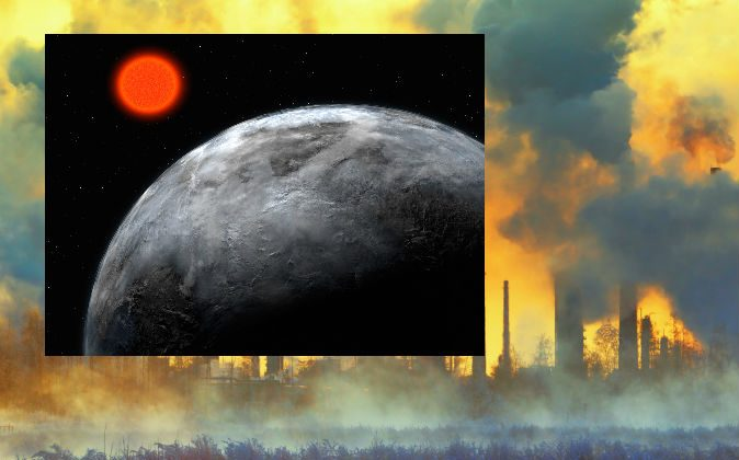 More and more planets within the habitable-zones of their stars, like Gliese 581 c pictured here, are being discovered on a regular basis. Scientists continue the search for extraterrestrial intelligence, with one proposed method being to look for pollution as evidence of alien industry. (European Southern Observatory via Wikimedia Commons; Industrial background via Thinkstock)