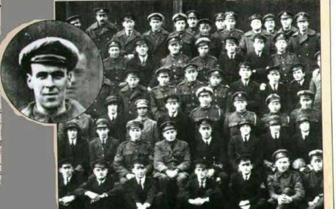 In the enlarged portion of this 1919 British Royal Air Force photo, a ghostly face appears behind the soldier's head. (Wikimedia Commons)