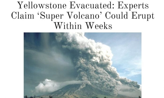 The Yellowstone volcano is fine. Despite a report to the contrary, an eruption at the Yellowstone volcano is not impending at the moment. (Screenshot)