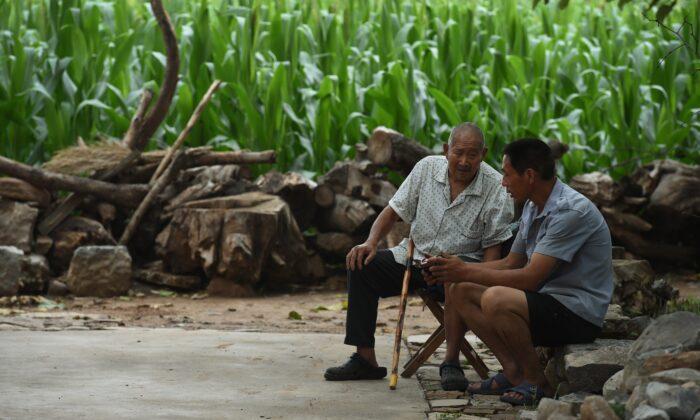 Two men listen to a portable radio near a corn field in Weijian Village, in China's Henan Province on July 30, 2014. (Greg Baker/AFP/Getty Images)