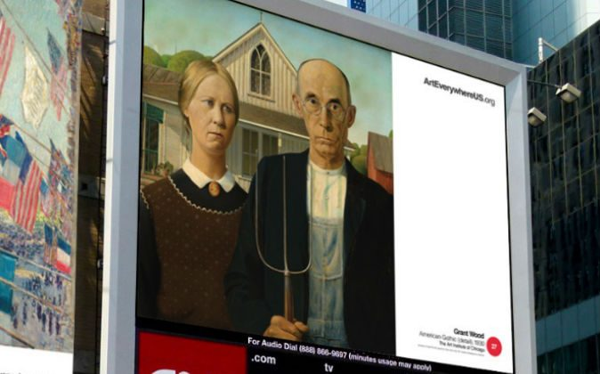 """Grant Wood's """"American Gothic"""" in Times Square. (Art Everywhere)"""