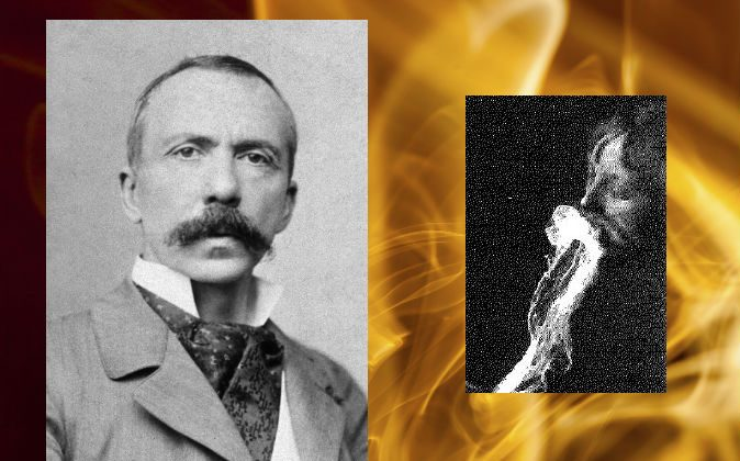 Left: Charles Robert Richet, 1905. (Wikimedia Commons) Right: Alleged emission and re-absorption of ectoplasm by a medium, observed by German physician and psychiatrist Albert Freiherr von Schrenck-Notzing in 1913. Background: A concept image of ectoplasm. (Thinkstock)