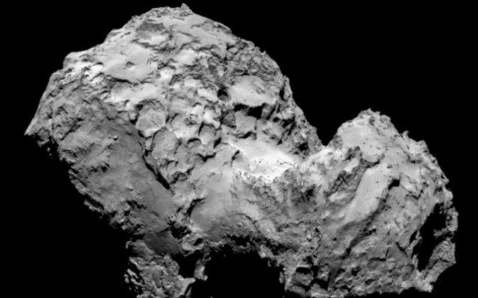 The comet 67P/Churyumov-Gerasimenko. The image was taken by Rosetta's OSIRIS narrow-angle camera. (ESA/Rosetta/MPS)