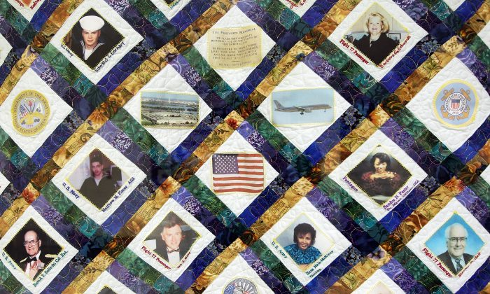 A patchwork quilt honoring victims of the Pentagon attack in the Pentagon in Arlington, Virginia, June 28, 2011. America is a patchwork nation, according to author Dante Chinni. (Alex Wong/Getty Images)