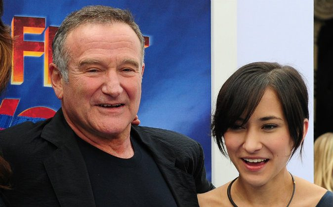 Actor Robin Williams and his daughter Zelda pose on arrival for the world premiere of the movie 'Happy Feet Two' in Hollywood on November 13, 2011 in southern California. Happy Feet Two will presented in RealD 3D and IMAX 3D, and also in 2D, on November 18, 2011. (FREDERIC J. BROWN/AFP/Getty Images)