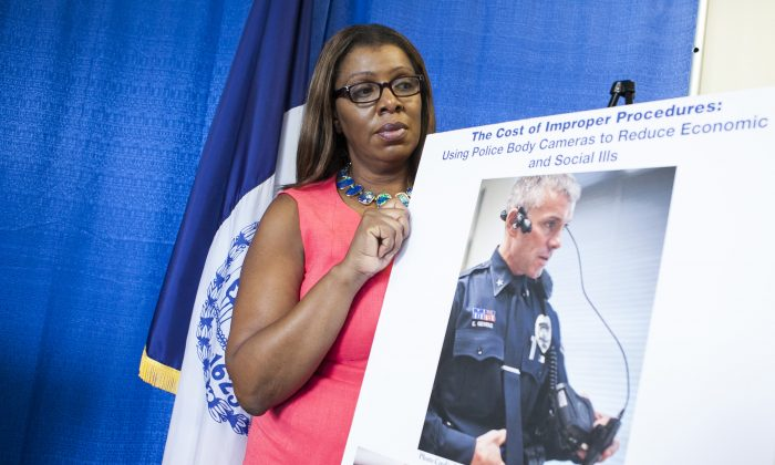 In this file photo, the New York city's Public Advocate Letitia James and advocates hold a news conference to call for city police officers to wear cameras as part of a pilot program, in New York, on Monday, Aug. 11, 2014. (Samira Bouaou/Epoch Times)