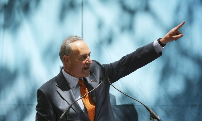 US Senator Chuck Schumer (D-NY) speaks at a rally in support of Israel near the United Nations Headquarters on July 28, 2014 in New York City. (John Moore/Getty Images)