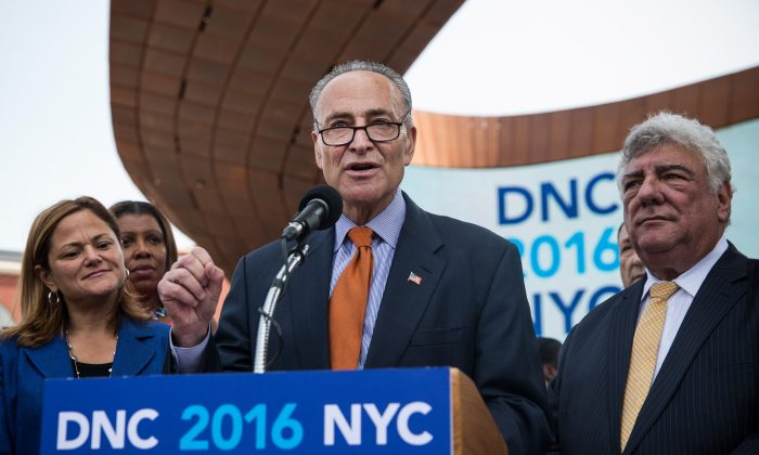 U.S. Sen. Chuck Schumer (D-NY) speaks at a press conference pitching the borough of Brooklyn to host the 2016 Democratic National Convention (DNC) outside the Barclay Center on August 11, 2014 in the Brooklyn borough of New York City. Brooklyn will have to compete for the DNC alongside other cities including Philadelphia, PA and Columbus, OH. (Photo by Andrew Burton/Getty Images)