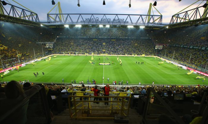 General view of the Signal Iduna Park prior to the Bundesliga match between Borussia Dortmund and Werder Bremen at Signal Iduna Park on August 23, 2013 in Dortmund, Germany. (Photo by Christof Koepsel/Bongarts/Getty Images)