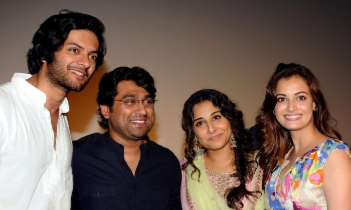 Ali Fazal, left, in a recent photo with Vidya Balan (2R) pose during the trailer launch of the forthcoming Hindi film 'Bobby Jasoos' directed by Samar Shaikh, (2L), produced by actress Dia Mirza (R) and Sahil Sangha in Mumbai on May 27, 2014. (AFP/Getty Images)
