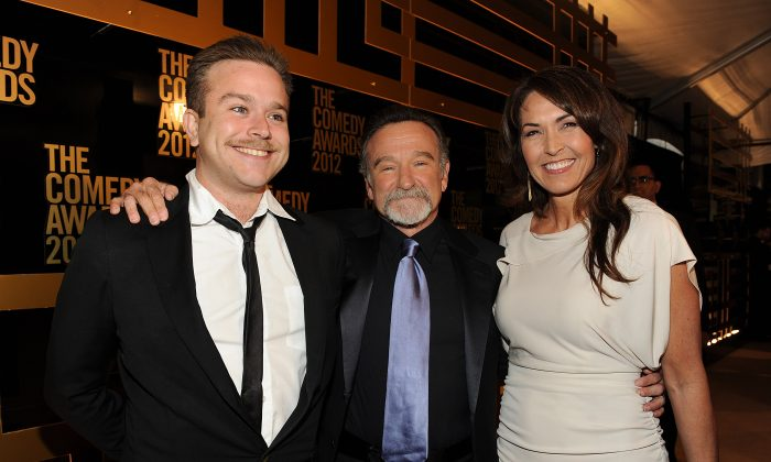 Zachary Pym Williams, Robin Williams and Susan Schneider arrive at Comedy Centrals 'The Comedy Awards 2012' at Hammerstein Ballroom on April 28, 2012 in New York City. (Frank Micelotta/Invsion/AP)