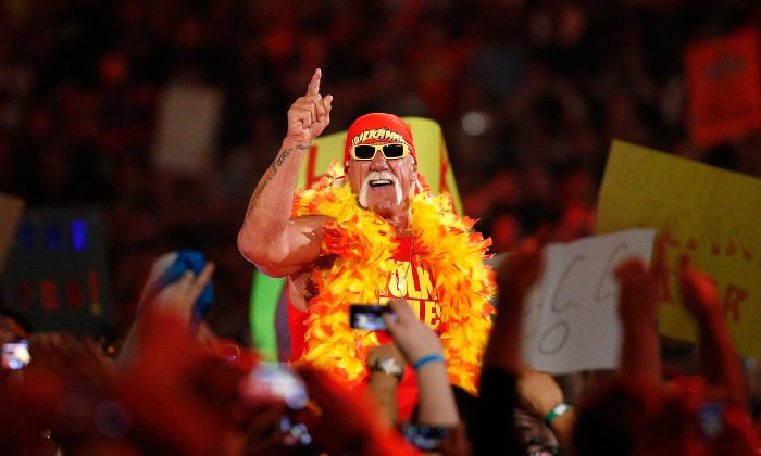 Hulk Hogan is seen during Wrestlemania XXX at the Mercedes-Benz Super Dome in New Orleans on Sunday, April 6, 2014. (Jonathan Bachman/AP Images for WWE)
