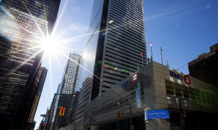 Canada's six largest banks, located in Toronto's financial district as seen here, could potentially be downgraded within two years by S&P. (The Canadian Press/Michelle Siu)