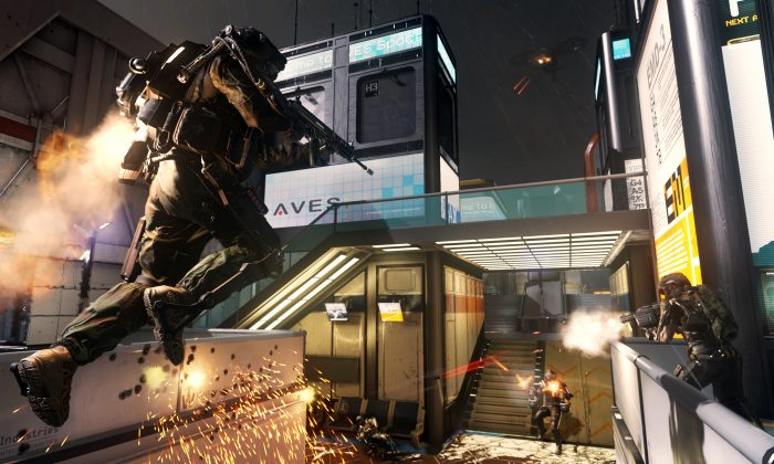 """This image released by Activision shows a scene from """"Call of Duty: Advanced Warfare,"""" the latest installment of Activision Blizzard's wildly successful shoot-'em-up franchise. """"Advanced Warfare,"""" scheduled for release Nov. 4, is setting the 10-year-old military series' sights squarely on the future. (AP Photo/Activision)"""