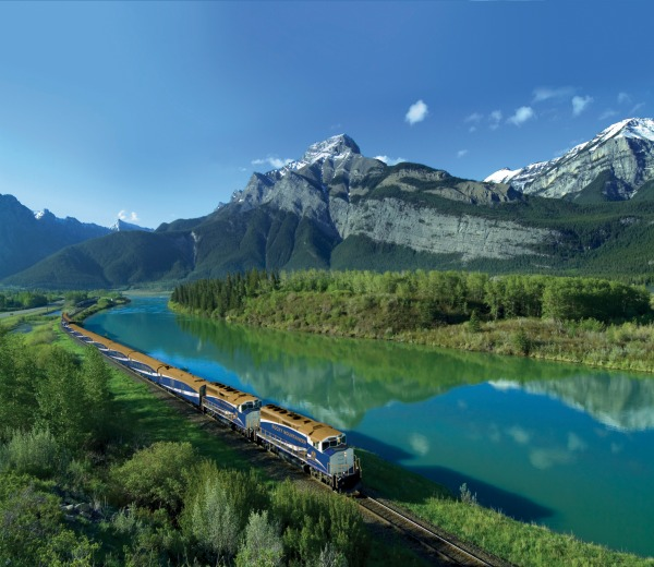 The Canadian train in The Rockies. Photo courtesy Canada Keep Exploring.