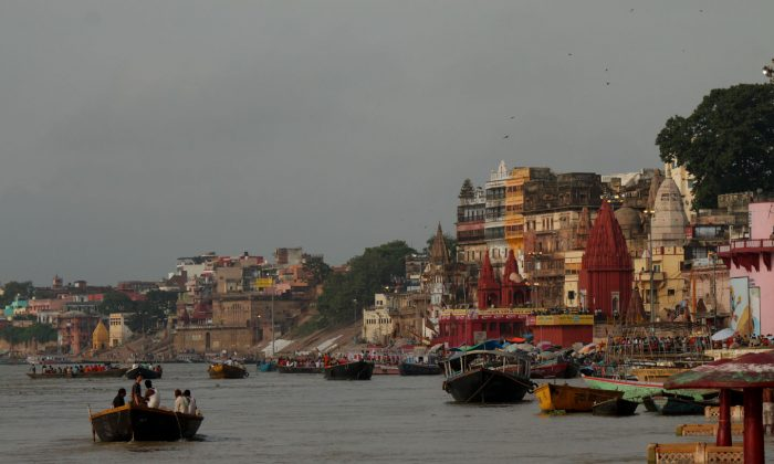 Varanasi city overlooking the river Ganges on August 4. The Ganges, India's most revered river is suffering from pollution, and the new Indian government has pledged to clean it. (Venus Upadhayaya/Epoch Times)