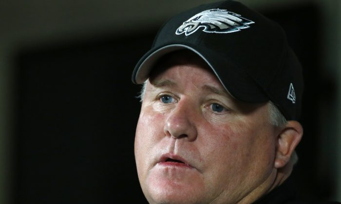 Philadelphia Eagles head coach Chip Kelly speaks during a news conference prior to an NFL football training camp joint practice of the New England Patriots and the Eagles in Foxborough, Mass., Wednesday, Aug. 13, 2014. (AP Photo/Elise Amendola)