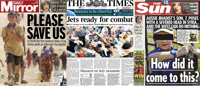 Covering atrocity on August 12 2014. Daily Mirror, The Times, The Sun. (TheConversation.com)