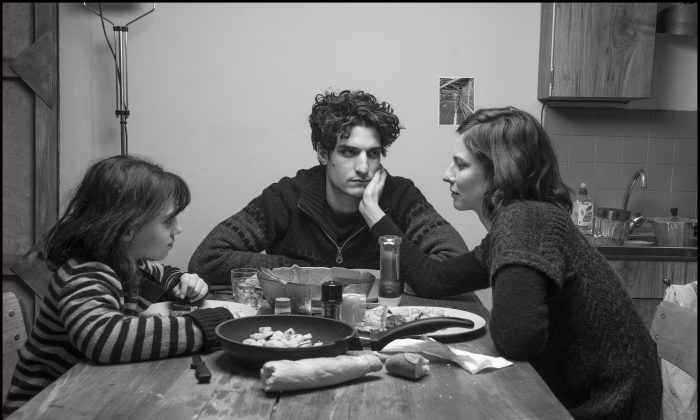 "(L–R) Olga Milshtein, Louis Garrel, and Anna Mouglalis in ""Jealousy."" (Distrib Films/Wild Bunch)"
