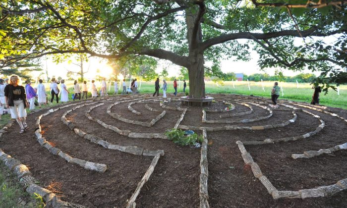 "People walk through ""Red Oak Labyrinth,"" Barbara Brown's installation at Beyond the Edge: Artists' Gardens. (Barbara Brown)"