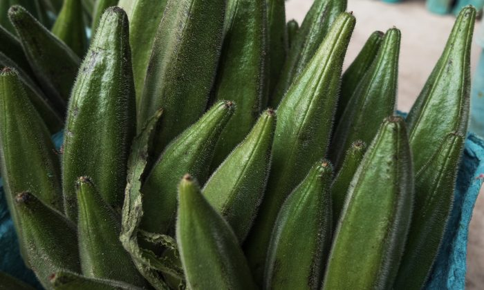 Okra at a local farmers market in Oakton, Virginia on Aug. 7, 2013. (AFP Photo/Paul J. Richards)