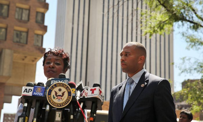 House Representatives from New York Yvette Clarke and Hakeem Jeffries call for a federal investigation of the death of Eric Garner at One Police Plaza on August 14, 2014 in Manhattan. (Spencer Platt/Getty Images)