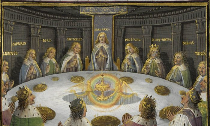 """King Arthur's knights, gathered at the Round Table to celebrate the Pentecost, see a vision of the Holy Grail. This scene is depicted in a 15th-century manuscript of """"Lancelot and the Holy Grail."""" (Wikimedia Commons)"""