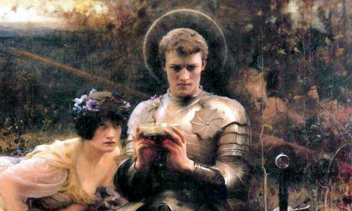 Sir Percival is depicted holding the Holy Grail as a devil disguised as a woman tries to tempt him, in this painting by Arthur Hacker, painted in 1894. (Wikimedia Commons)