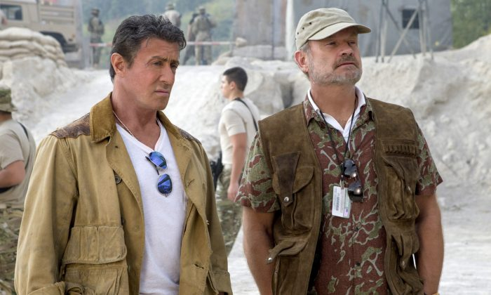 "This image released by Lionsgate shows Sylvester Stallone, left, and Kelsey Grammer in a scene from ""Expendables 3."" (AP Photo/Lionsgate, Phil Bray)"